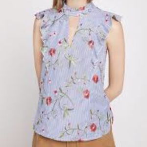 Sleeveless High-Neck Floral Embroidered Top